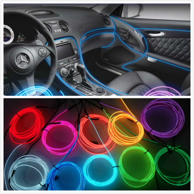 Car Interior <font><b>LED</b></font> EL Wire Rope Tube Line strip For jeep renegade wrangler grand cherokee lexus mazda 6 3 cx-5 amg mini cooper image