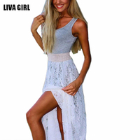 2017 Summer Bohemia Beach Grey Vest Joint Lace Long Dress Women Sleeveless Party Chiffon Dress Gown