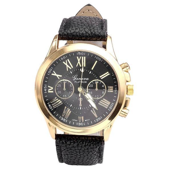Lucky New Brand Casual Women Wristwatches Faux Leather Strap Analog Quartz Clock Women Watches Fashion Dress Watch Dropship