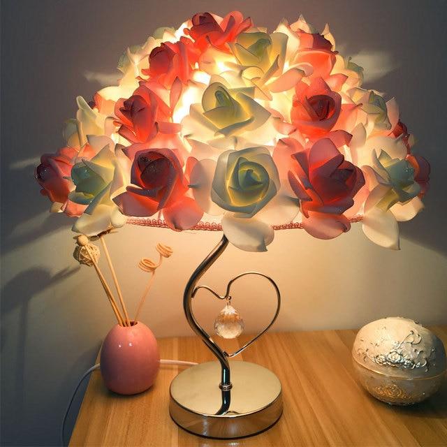 Delightful 2018 Romantic Red Rose Table Lamp 220V Bedside Rose Heart Shaped Desk Lamps  For Valentineu0027s Idea