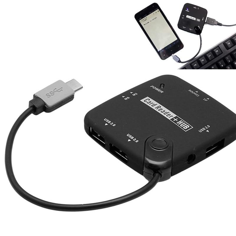OTG & TF SD SDHC MS MMC Card Reader USB 3.1 Type C USB-C To 3 Port USB 2.0 Hub ...
