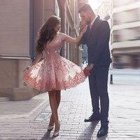 Бесплатная доставка Бальное платье с коротким рукавом Мини Homecoming Платья Кружева Аппликация Из Бисера Арбуз Красный короткое платье