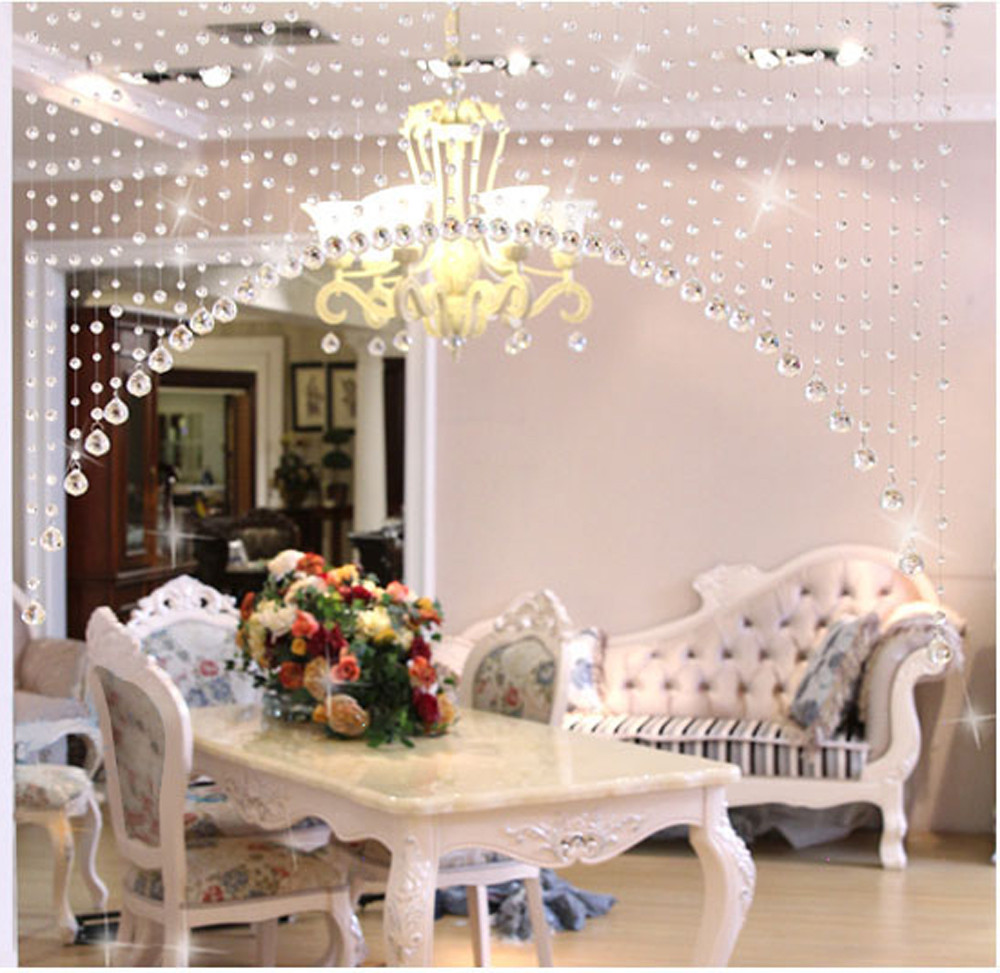 US $1.95 40% OFF|Line String Crystal Glass Bead Curtain Window Door Divider  Sheer Curtain Valance Luxury Living Room Bedroom Wedding Home Decor-in ...