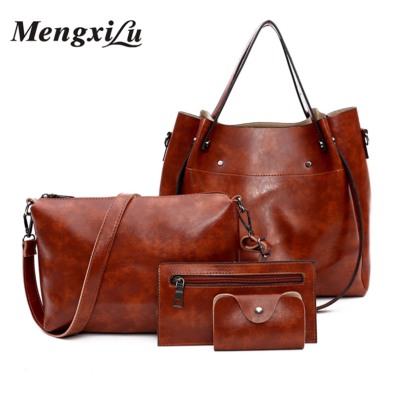 MENGXILU 4 Pcs/Set Women Bag High Quality PU Handbags Large Capacity Ladies Shoulder Bags Luxury Solid Women Tote Bag Designer reprcla brand designer handbags women composite bag large capacity shoulder bags casual ladies tote high quality pu leather page 7