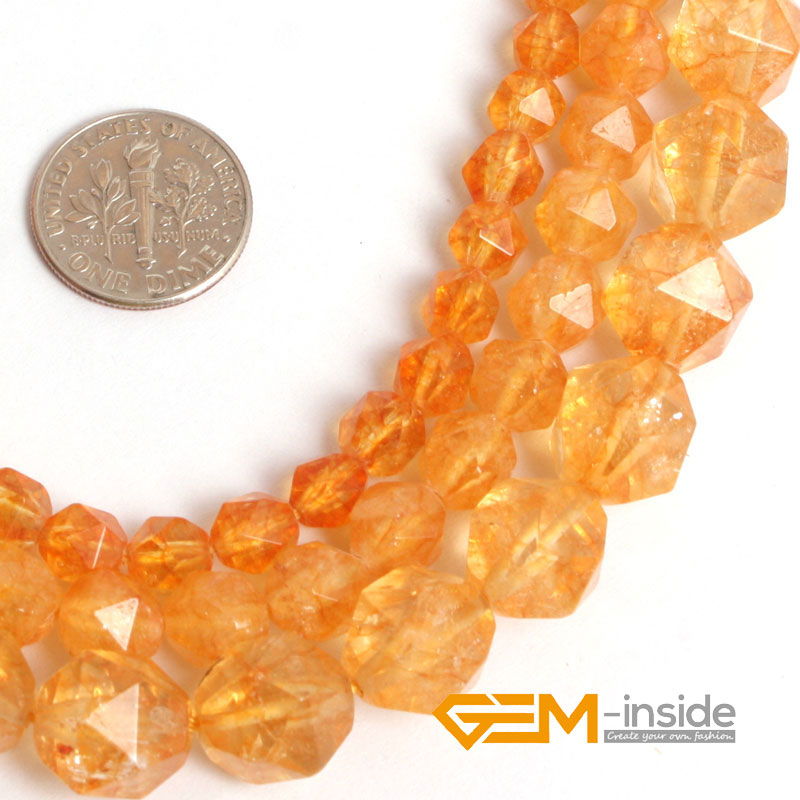 Faceted Dyed Citrines font b Crystal b font Beads for Cambay DIY Loose Beads For font