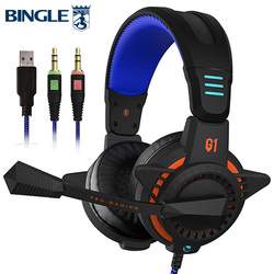 Bingle G1PLUS Noise Cancelling Led Light Stereo PC Game HeadSet Usb Gamer Head set PS4 Laptop Gaming Headphone With Microphone