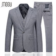 MOGU Wedding Suits For Men 2017 Spring New Arrival Men's Clothing High Quality Three Piece Costume Slim Fit Asian Size Men Suit