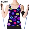 FORUDESIGNS Summer Women Tank Top Sexy Sleeveless Ladies Fashion Cropped Top 3D Printing Basis Tops Blouse