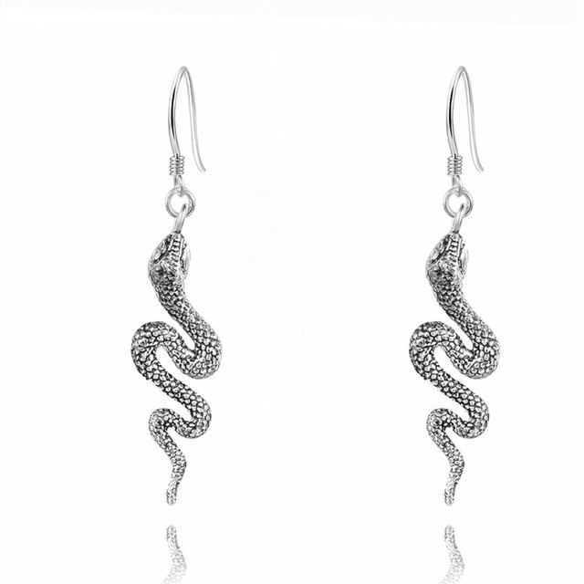 Free Shipping Silver Black Snake Dangle Earring Special Accessories 925 Jewelry Drop Earrings New Arrival Fhmqeh087