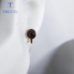 Image 5 - TBJ,925 ayar gümüş gül rengi küçük toka nokta küpe doğal renkli opal taş basit stil takı kızlar için