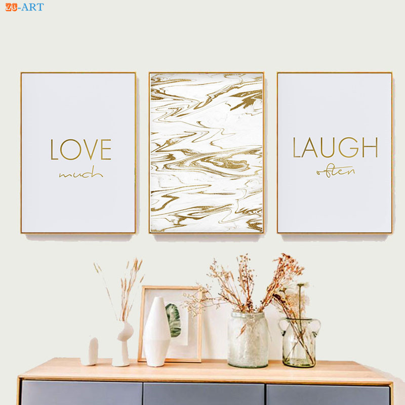Live Laugh Love Prints Gold Letter Poster S Room Decor Marble Wall Art Home Office Canvas Painting My Life Style