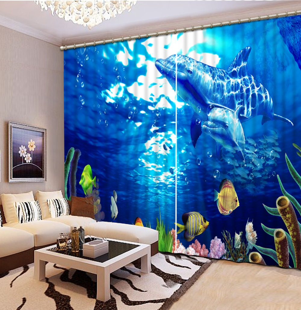 ocean curtains 3D Blackout Curtains For Living room Bedding room dolphin curtains ocean curtains 3D Blackout Curtains For Living room Bedding room dolphin curtains