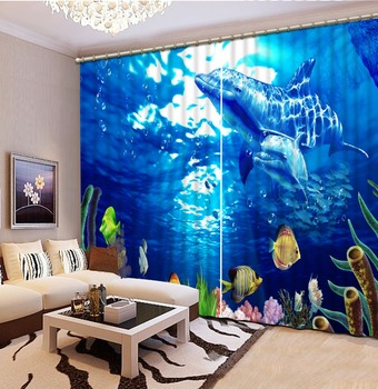 ocean curtains 3D Blackout Curtains For Living room Bedding room dolphin curtains