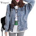 TANGNEST Jackets Women 2016 Casaco Feminino Fashion Jeans Jacket Students Denim Washed Loose Tops Vintage Boyfriend Coat WWJ351