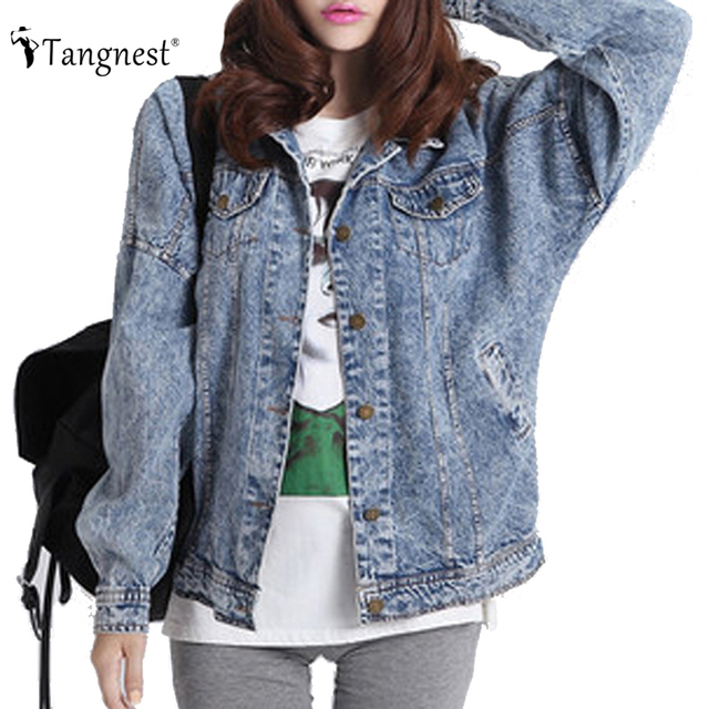 TANGNEST Jackets Women 2016 Casaco Feminino Fashion Jeans Jacket Students Denim Washed Loose Tops Vintage Boyfriend Coat WWJ351