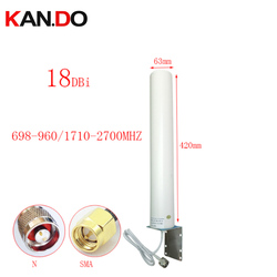 Antena exterior real de 18dbi 42cm do comprimento 697-2700 mhz 2g 3g 4g para repetir o repetidor da antena do roteador 4g lte modem antena n sma macho
