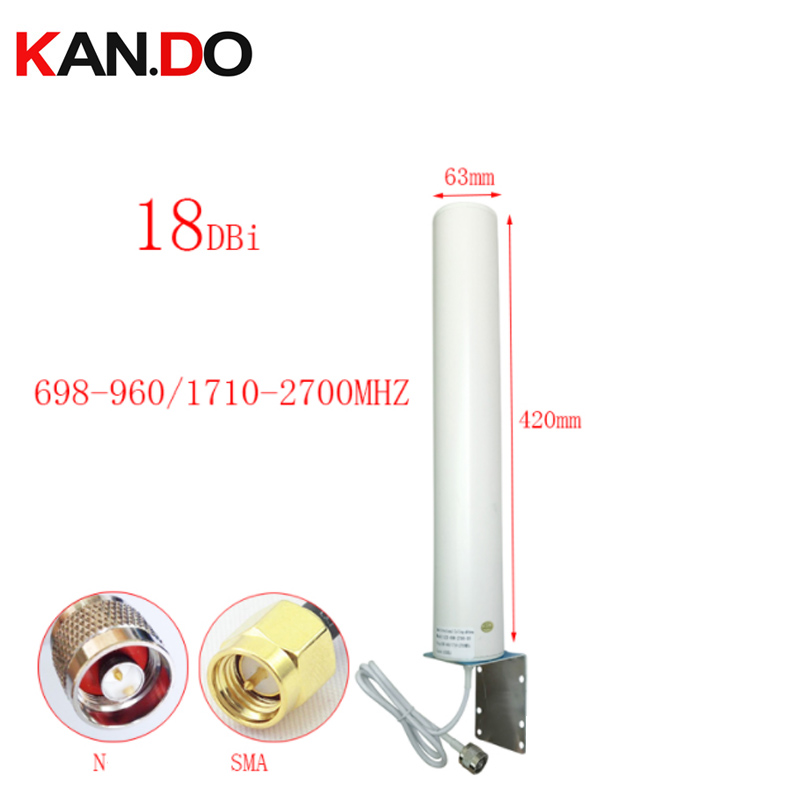 Real 18dbi 42cm Length 697-2700Mhz Outdoor 2G 3G 4G Antenna For Repeate Router Antenna Repeater 4G LTE Modem Antenna N Male SMA