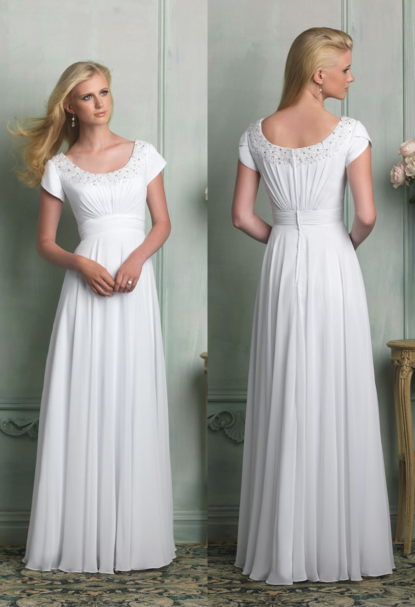 21243660b8d3 Cecelle 2016 White Long A line Modest Beach Wedding Dresses Cap Sleeves  Beaded Ruched Scoop Floor Length Reception Bridal Gowns-in Wedding Dresses  from ...