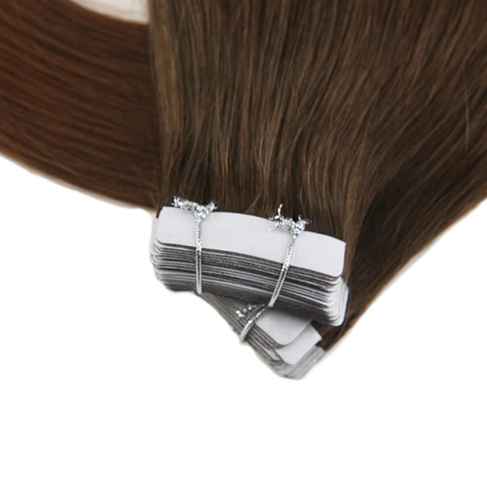 Moresoo лента для наращивания волос в человеческих волосах настоящие Remy бразильские волосы Омбре цвет #4 коричневый выцветание до #30 ткань для наращивания волос