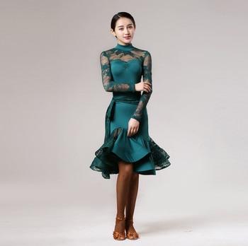 cfc4681f Vestido latino de encaje verde para mujer vestido de baile latino samba  salsa vestido flecos baile latino trajes para mujeres sexy vestidos de tango