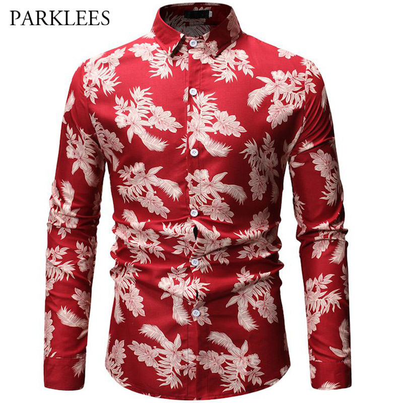 Casual Shirts Male High Quality Clothes Casual 3d Print Shirt Men Floral Red Shirts Streetwear Camisa Masculina Chemise Homme Manche Longue 20 Shirts