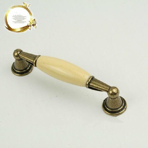 hole space  96mm (3.8) Antique brass zinc alloy with ceramic drawer cabinet wardrobe dresser furniture handles pulls knobs B001