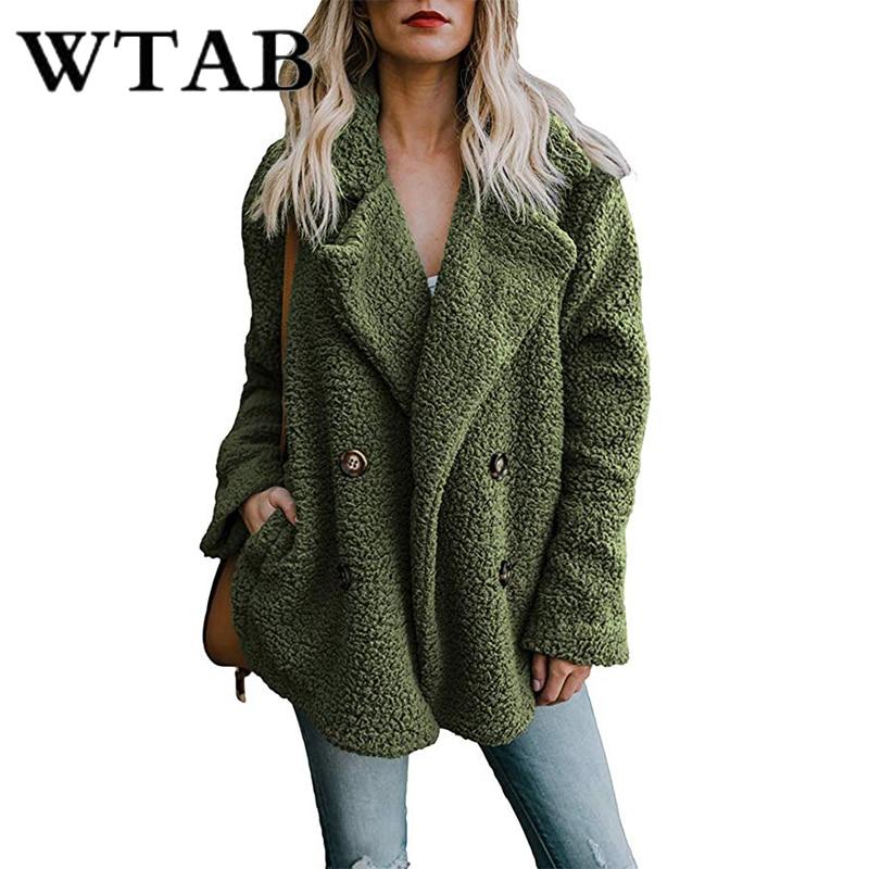WTAB Coats Jackets Women 2018 autumn winter woollen coat women casual pockets Single jacket plus size Outerwear veste femme