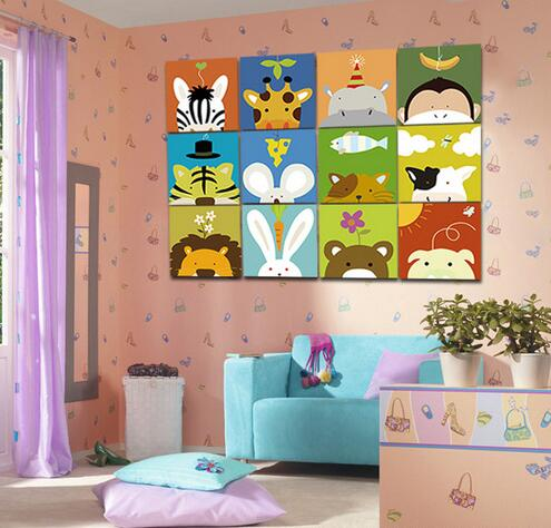 handgemalte tier cartoon bild diy lgem lde durch zahlinstallationss tze acryl malen auf. Black Bedroom Furniture Sets. Home Design Ideas
