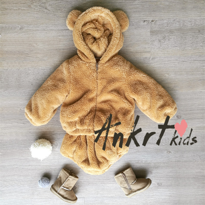 ANKRT  Boys Clothing  Children Long Sleeve  Hooded Jacket+Pants 2PCS Winter Kids Clothes Winter Girl  Coral velvet Coat   Baby