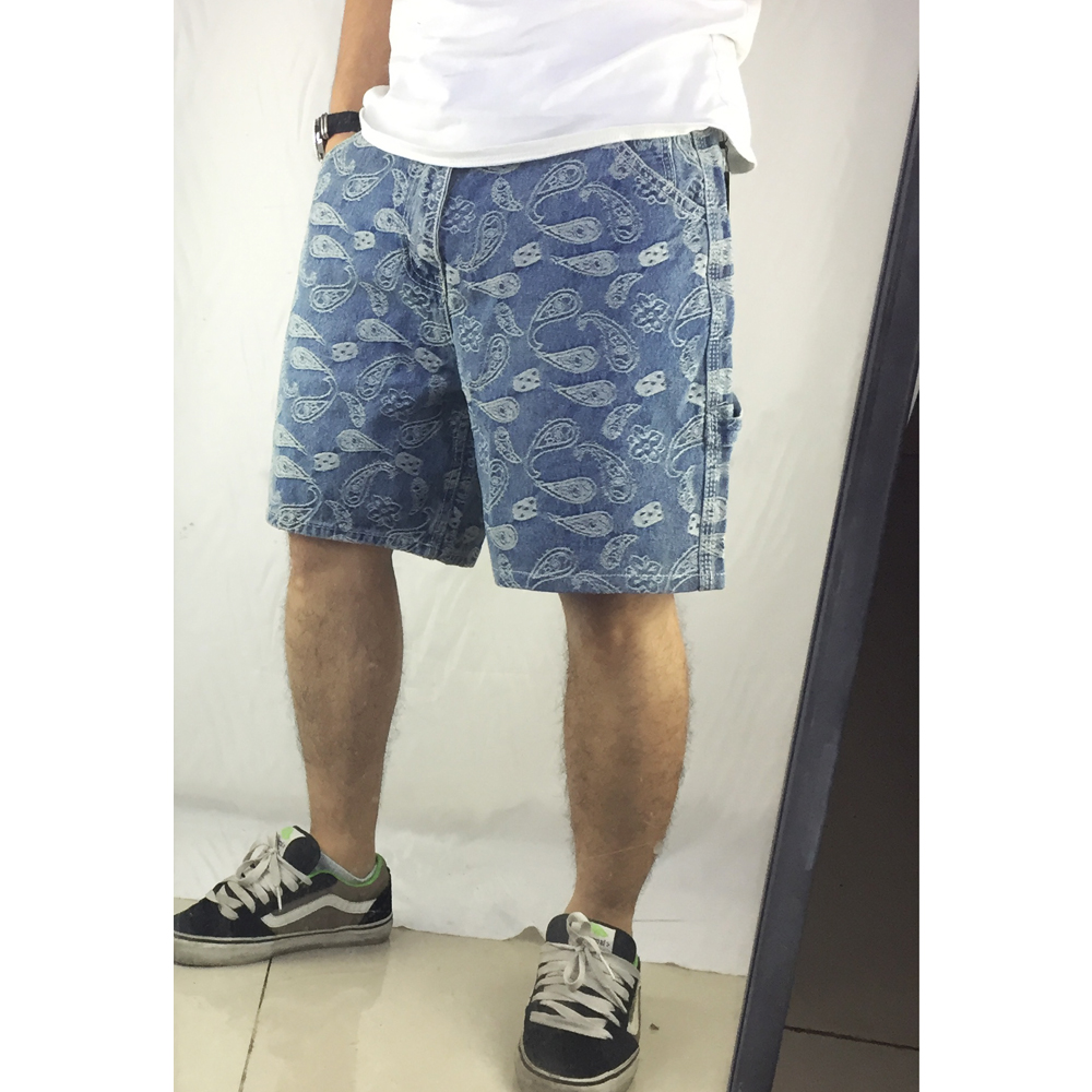 High Quality 2019 Summer New Arrivals Fashion Cashew Flower Pattern Denim Shorts Men Hip Hop Casual Loose Jeans Shorts Trousers