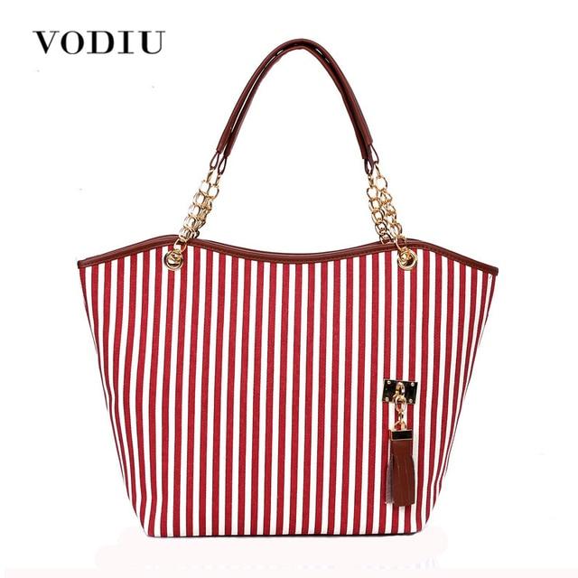 Women Handbag Canvas Over Shoulder Tote Sling Bags Striped Chain Las Bolsas Fringe Tassel Red