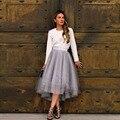 Novas Mulheres Moda Saias High-Low Assimétricas Cinza Em Camadas de Tule Saias Estilo Zipper Mid-Calf Saias Adulto Jupe Saia Longa