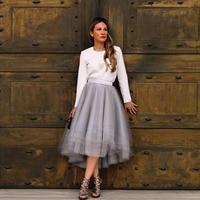 Nowa Moda Kobiety Spódnice High-Low Asymetryczny Szary Wielowarstwowa Tulle Spódnice Spódnice Zamek W Stylu Połowy Łydki Dorosłych Jupiter Saia Longa