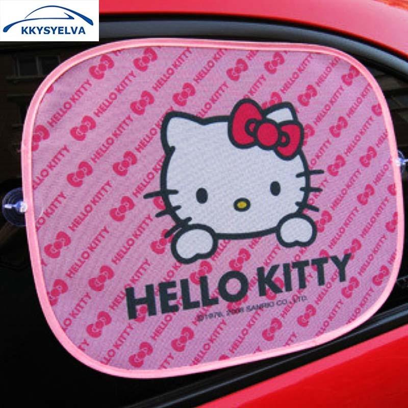 4PCS Hello Kitty Side Sun shade window Screen Visors Car Tru