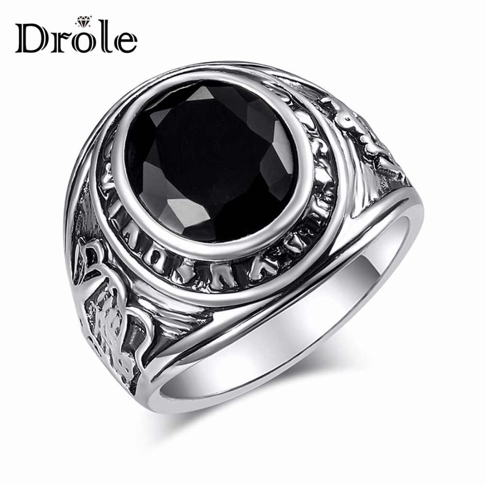 Big Vintage Silver Black Stone Ring for Women Man Fashion Jewelry Valentine's Day Gift