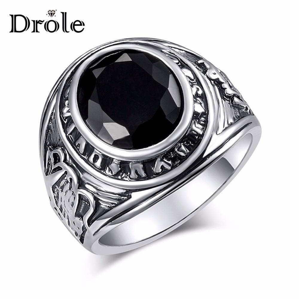 Big Vintage Silver Black Stone Ring for Women Man Fashion Jewelry Valentine's Day Gift(China)