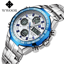 New Brand WWOOR Watch Men Luxury Alarm Chronograph Clock Steel Led Display Military Watches Male Luminous Waterproof Watches