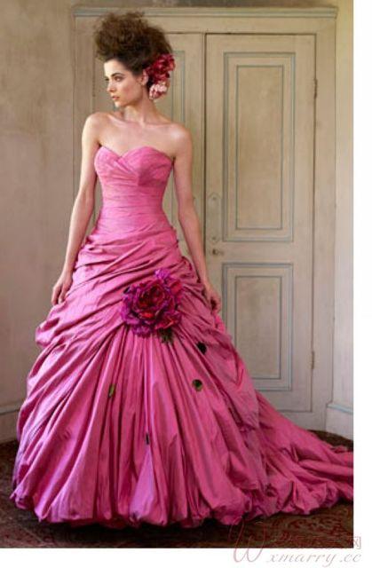 Fashion Flowers Hot Pink Wedding Dresses 2017 Court Train Formal ...