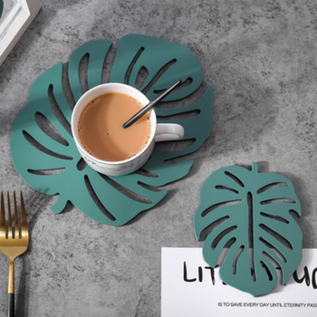 2 Pc Leaf Design Trivet In High Temperature Resistance For Dining And Kitchen Table