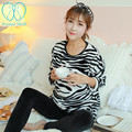 024# Zebra Pattern Thick Warm Nursing Pajamas Suit 2016 Autumn Winter Fashion Breastfeeding Sleepwear Sets Breast Feeding Wear