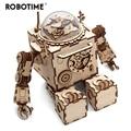 Robotime Creatieve DIY 3D Steampunk Robot Houten Puzzel Spel Montage Muziekdoos Speelgoed Cadeau voor Kinderen Tieners Volwassen AM601
