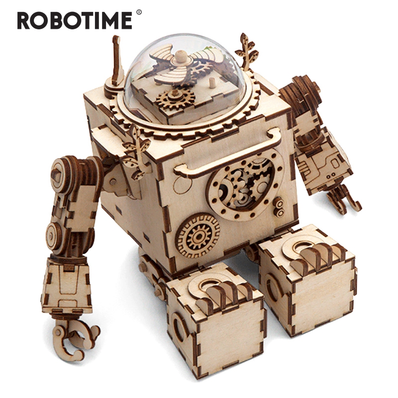 Robotime Creative DIY 3D Steampunk Robot Wooden Puzzle Game Assembly Music Box Toy Gift for Children Teens Adult AM601-in Puzzles from Toys & Hobbies