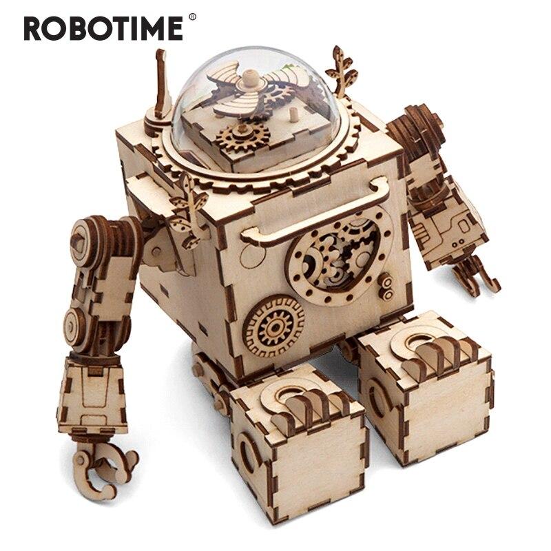 Robotime Creative bricolage 3D Steampunk Robot en bois Puzzle jeu assemblage boîte à musique jouet cadeau pour enfants adolescents adultes AM601