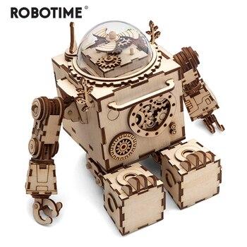 Robotime Kreatif DIY 3D Steampunk Robot Kayu Permainan Puzzle Perakitan Musik Kotak Hadiah Mainan untuk Anak-anak Remaja Dewasa AM601