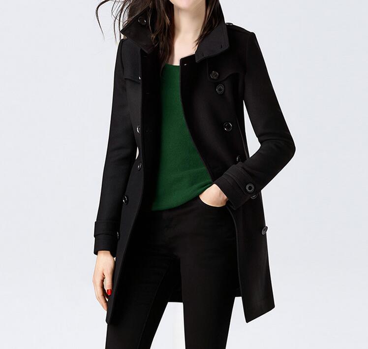 3xl Nouvelle S Mode Femmes Col Boutonnage Dentelle up Taille Tissu À Long Printemps Laine Double Chaude Noir Manteau En De Grande 2019 dqXWwrXp