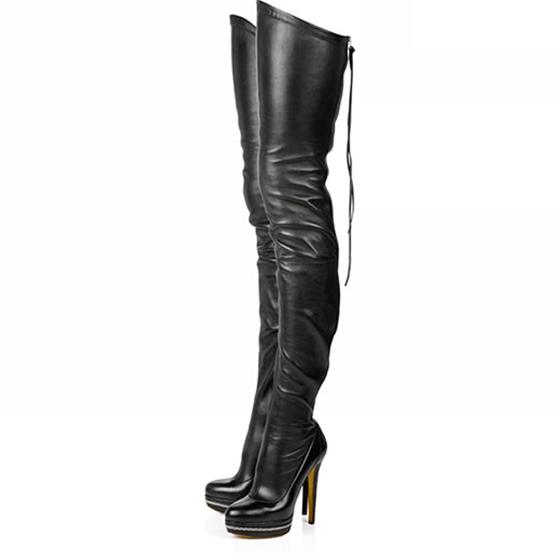 Kingmistres Women Boots Stretch PU Leather Over The Knee High Sexy Ladies Party High Heels Platform Shoes Woman Black 2017 women boots stretch pu leather over the knee high sexy ladies party high heels platform shoes woman black plus size 43