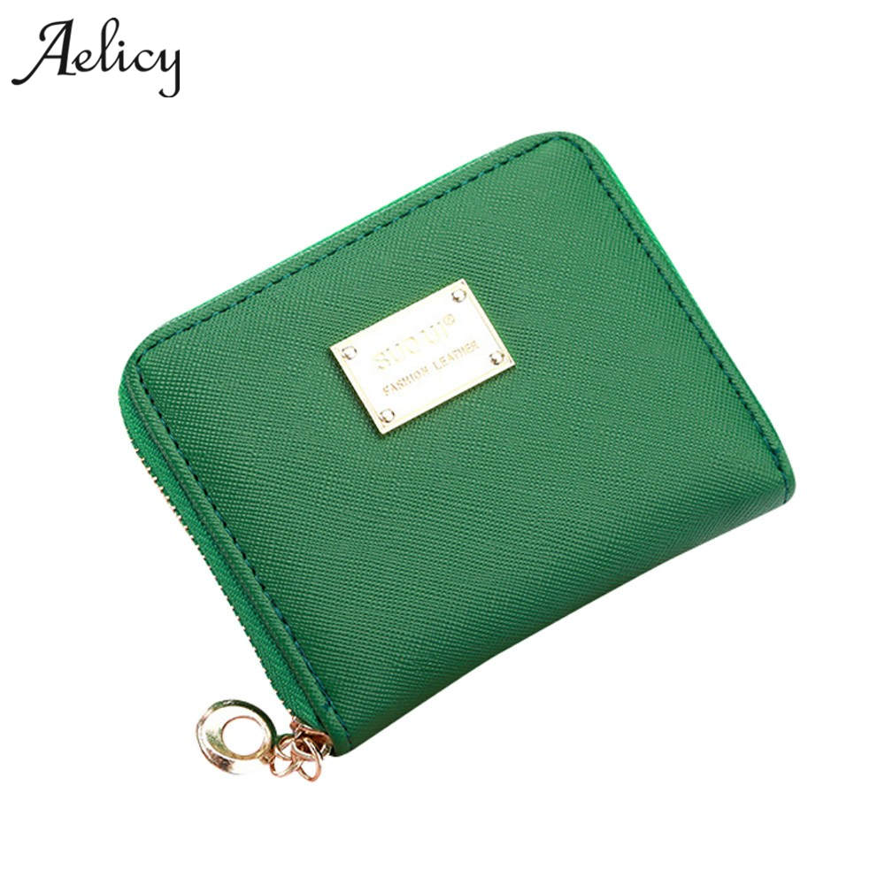 Aelicy High Quality Candy Color Leather Small Wallet Women's Purse Thin Zipper Women's Wallet Women Coin Purse Mini Card star wars purse high quality leather