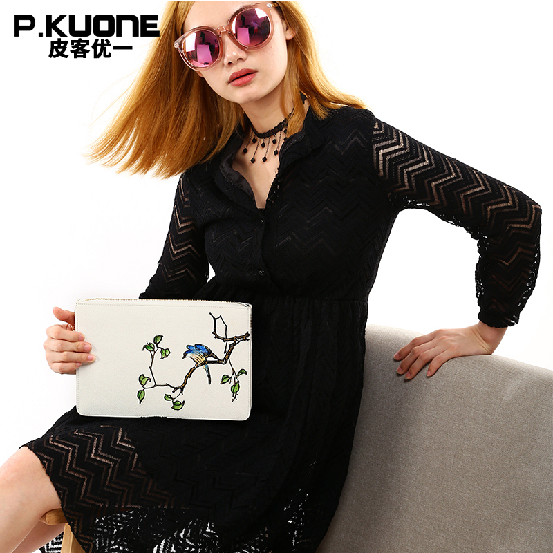 P.KUONE Brand Original Design Flower and Bird Black And White Clutch Bags  Women Handbag Wallet Lady 's  Envelope Bag Wristlet trendy black and metal design women s clutch bag