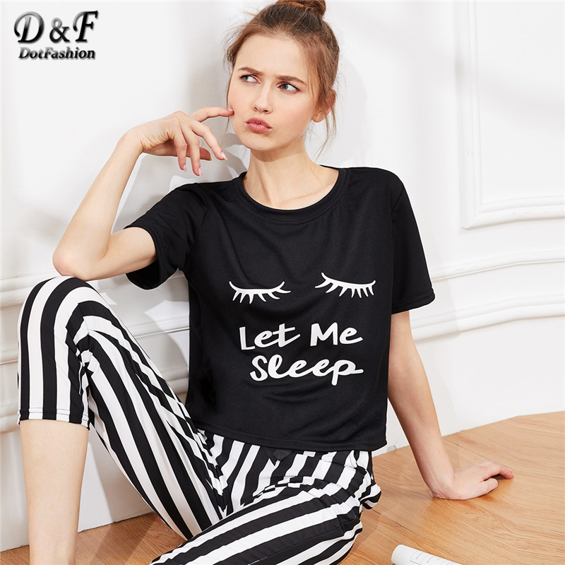 Dotfashion Eyelash Letter Print Striped   Pajama     Set   2019 Summer Black And White   Pajamas   For Women Casual Short Sleeve Sleepwear