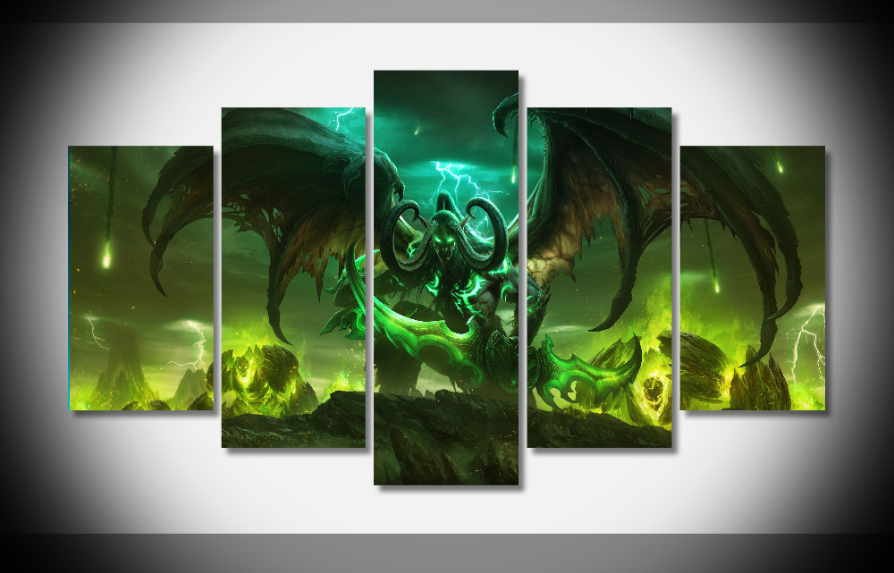 Wall Art Canvas Paintings Living Room Decor 5 Pieces World Of Warcraft Pictures Hd Printed Framed